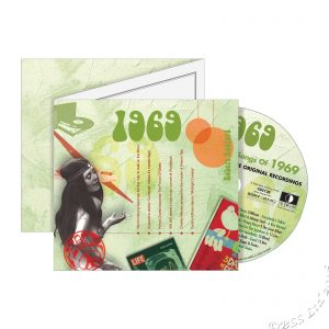 Hits of the 60's ~ Hit Music of 1969 on CD & download plus Greeting Card in one gift ; A Time to Remember, The Classic Years -1969