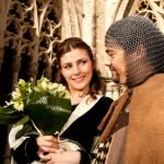 Knight and his Lady with flowers