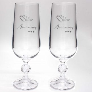 Silver Anniversary Crystal Champagne Flutes
