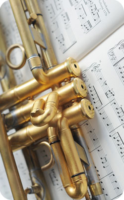 Part of a trumpet to indicate musical instruments are the modern 24th year wedding anniversary theme