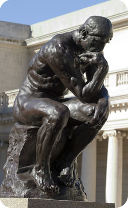 The thinker sculpture used to represent the 27th year wedding anniversary symbol