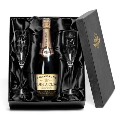 Personalised Champagne & Happy Anniversary Glasses Gift Set