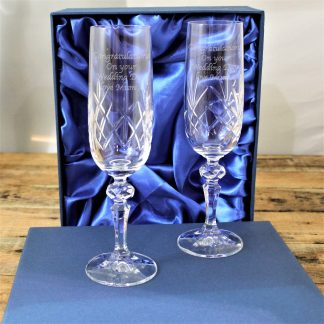 Pair of Personalised Crystal Champagne Flutes In Presentation Box