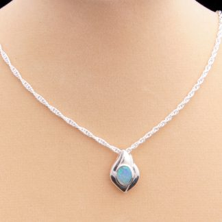 Blue Opal Pendant on Silver Diamond-cut Chain