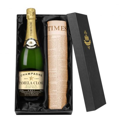Personalised Champagne and Newspaper Gift Set