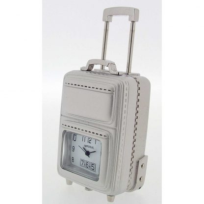 Chrome Suitcase on wheels Miniature Clock
