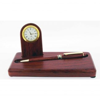 Rosewood Clock and Pen Desk Set