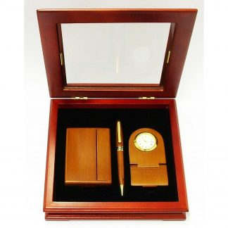 Executive Desk set - Maple pen, cardholder and clock