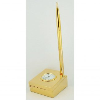 Gold plated pen and Desk tidy with Clock