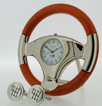 Cherry wood Steering Wheel Clock and Cufflink Gift set