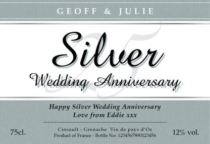 Personalised Silver Wedding Anniversary Red Wine Classic Label