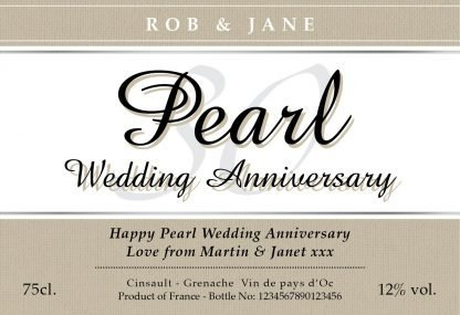 Pearl Wedding 30th Anniversary Red Wine Classic Label