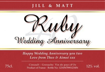 Classic Ruby Wedding Anniversary Label