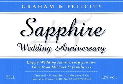 Personalised Sapphire Wedding Anniversary Red Wine Classic Label