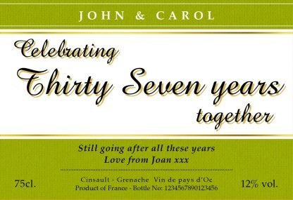 Celebrate the Year Wedding Anniversary Red Wine Label