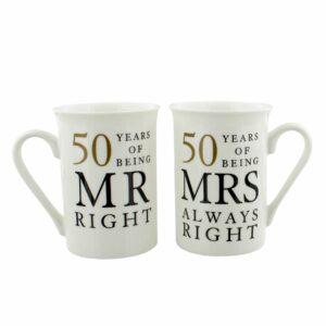 Golden Wedding 50th Anniversary Gift Set of 2 China Mugs 'Mr Right & Mrs Always Right' WG67750