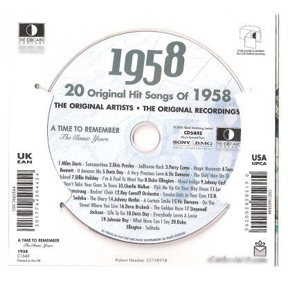 Music from 1958 A time to remember the classic years rear