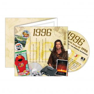 1996 Classic Years Greeting Card with Hit Songs, Download Code and retro CD
