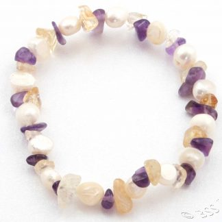 Pearl, Amethyst and Citrine Bracelet