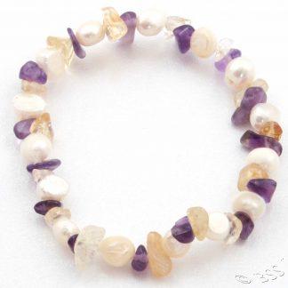Pearl, Amethyst and Citrine Bracelet