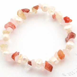 Pearl, Rose Quartz and Citrine Bracelet