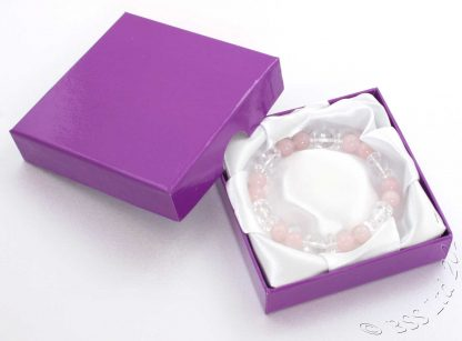 Rose Quartz and Clear Rock Crystal Gemstone Bracelet in a presentation jewellery box