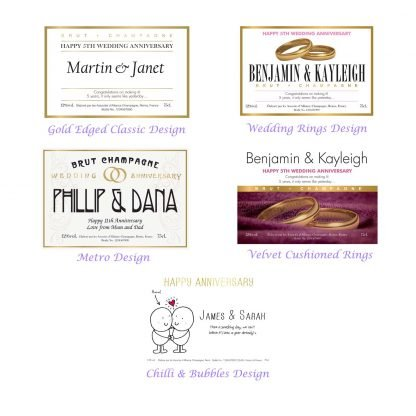 personalised anniversary champagne choice of labels designs