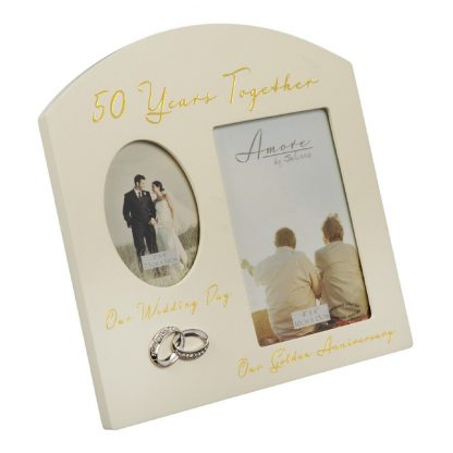 Amore Golden 50th Anniversary Wedding Gifts Then & Now Photo Frame