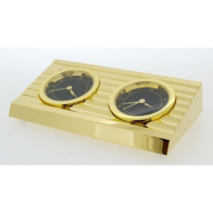Gold Plated 2 time zone Clock