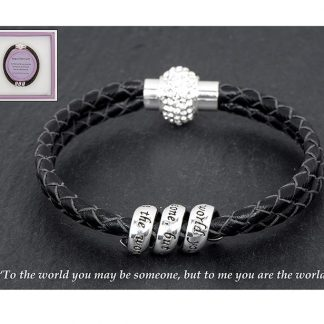 Equilibrium Leather Bracelet with Silver Scroll You are my World