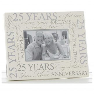 "Silver Wedding 25th Anniversary 6"" x 4"" Script Photo Frame"