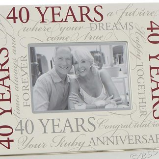 "Ruby Wedding 40th Anniversary 6"" x 4"" Script Photo Frame"