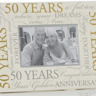 "Golden Wedding 50th Anniversary 6"" x 4"" Script Photo Frame"