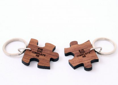 Personalised You Complete Me Romantic Jigsaw Wooden Key ring