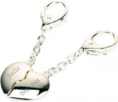 Two Hearts beat as One key ring engraved