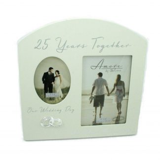 "Amore Silver 25th Anniversary Wedding Gift Cream Photo Frame - 6""x4"""