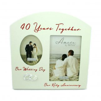 Amore Ruby 40th Anniversary Wedding Gifts Then & Now Photo Frame
