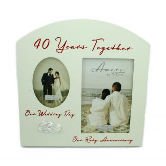 "Amore Ruby 40th Anniversary Wedding Gifts Then & Now Photo Frame - 6""x4"""
