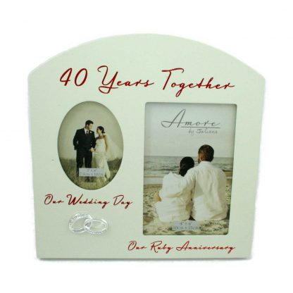 """Amore Ruby 40th Anniversary Wedding Gifts Then & Now Photo Frame - 6""""x4"""""""