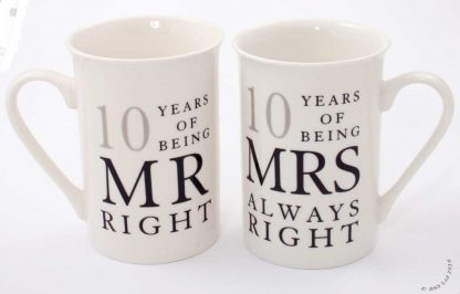 10th Anniversary Gift Set of 2 China Mugs 'Mr Right & Mrs Always Right'