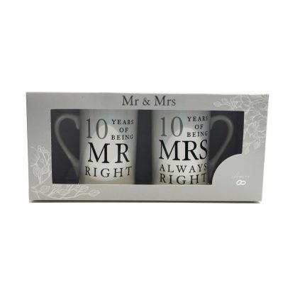 10th Anniversary Gift Set Two China Mugs Mr Right and Mrs Always Right presentation gift box