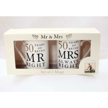 Mr & Mrs Right 50th Anniversary Gift Set wbwg67750 boxed