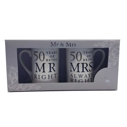 50th Anniversary Gift Set Two China Mugs Mr Right and Mrs Always Right presentation box