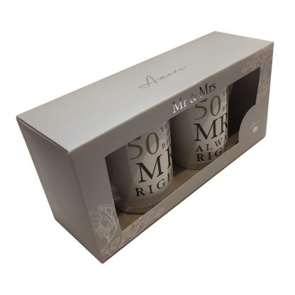 50th Anniversary Gift Set Two China Mugs Mr Right and Mrs Always Right new presentation box
