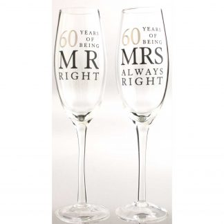 60th Wedding Anniversary Celebration Flutes Mr & Mrs Right