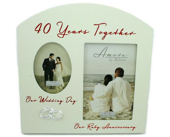 Amore Ruby 40th Anniversary Wedding Gifts Then Now Photo Frame