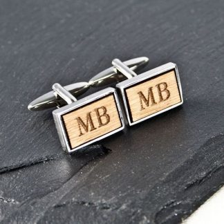 Rectangle Wooden Cufflinks ~ 5th Wedding Anniversary Gifts