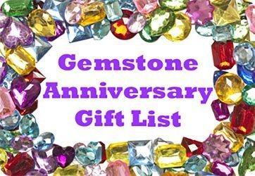 multicoloured gemstones surrounding the words gemstone wedding anniversary gift list