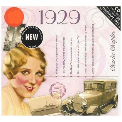 89th Anniversary or Birthday gift ~ Hit Music CD from 1929 with Greeting Card front view