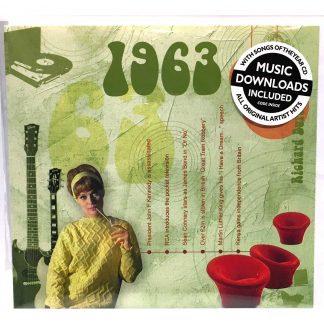 55th Emerald Wedding Anniversary gift ~ Hit Music of 1963 CD and Greeting Card front view